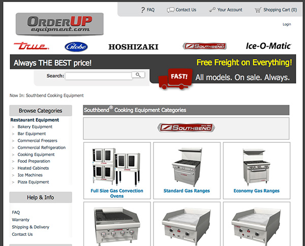 website design for OrderUp Equipment - communicating low-price positioning